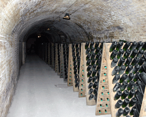 Champagne undergoing remuage prior to disgorgement in tunnels under the Avenue du Champagne, Epernay, France