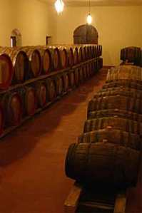 Desert wines aging in barrels, Tuscany, Italy